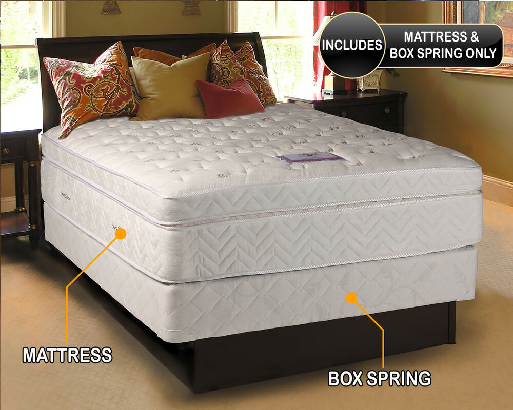 lexus pocket coil eurotop queen size mattress and box set ebay. Black Bedroom Furniture Sets. Home Design Ideas