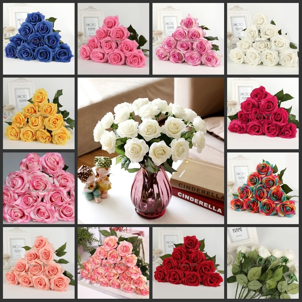 6pcs 40pcs latex real touch rose 7cm flowers bouquet for Real plants for home decor