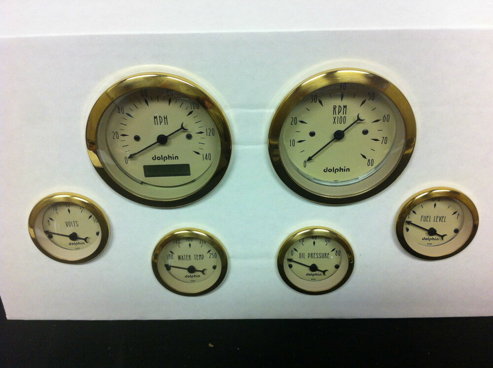Dolphin 6 Pro Tan Street Rod Gauges With Gold Rings Hot