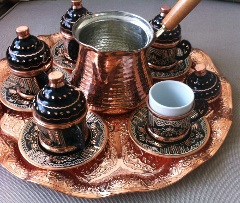 TURKISH COFFEE SET (of 6): Copper Cezve, Silver Engraved ...