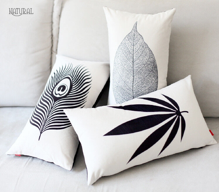 Elegant Black & White Leaves Pillow Case Velvet Decorative