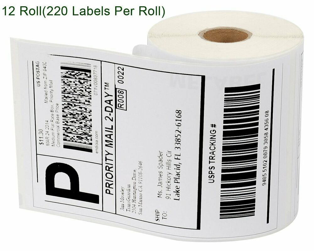 12 rolls thermal shipping labels 4x6 compatible dymo 4xl for Dymo 4x6 labels