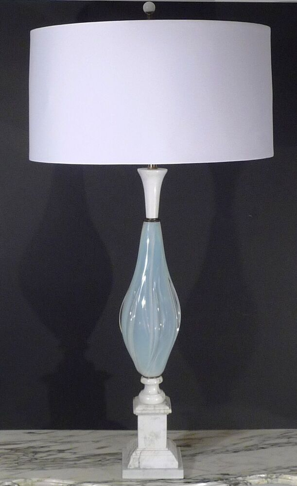 Vintage Murano White Winged Opaline Marble Table Lamp