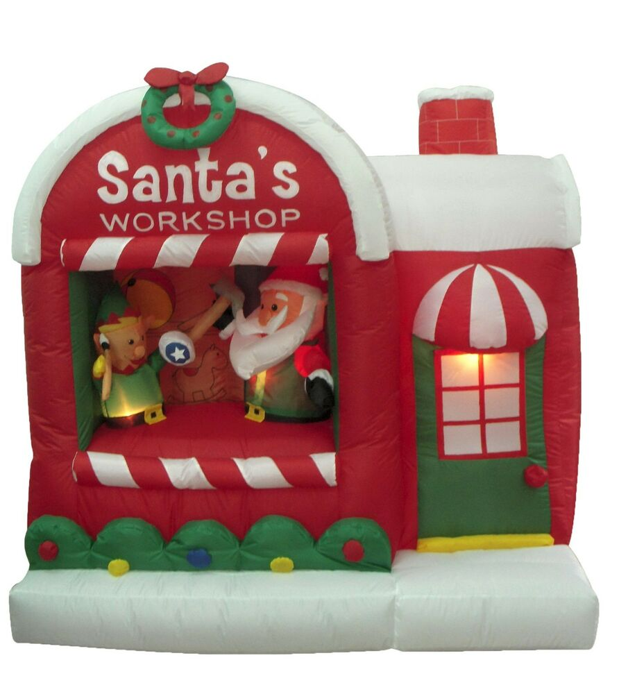 Christmas inflatable santa claus workshop elf yard outdoor for Christmas cat yard decorations