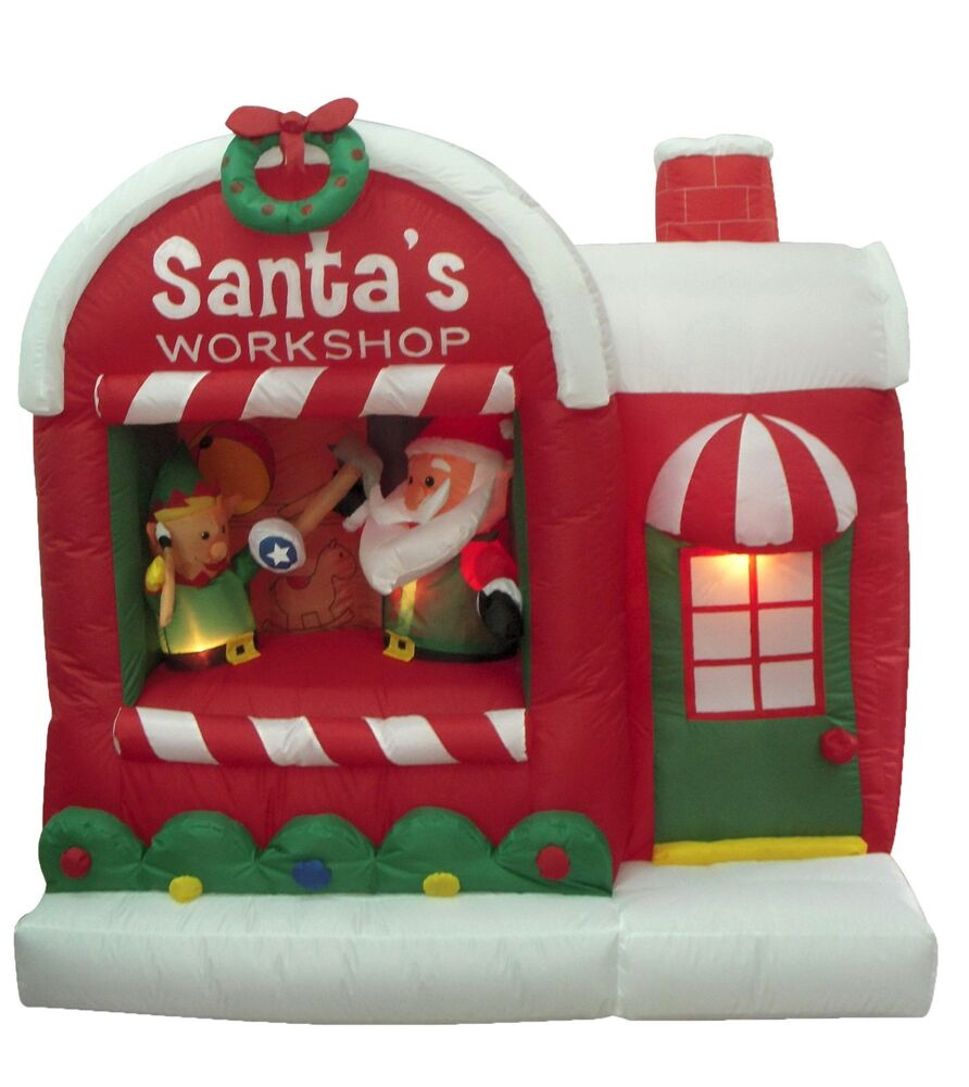 Santa Claus Lawn Decorations: Christmas Inflatable Santa Claus Workshop Elf Yard Outdoor
