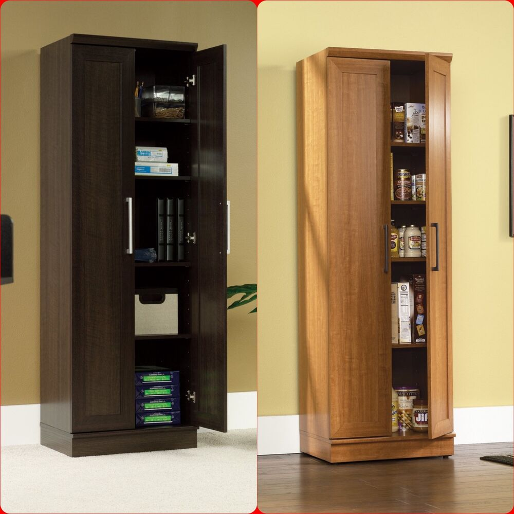 Tall cabinet cupboard storage organizer office laundry for Kitchen cabinets storage