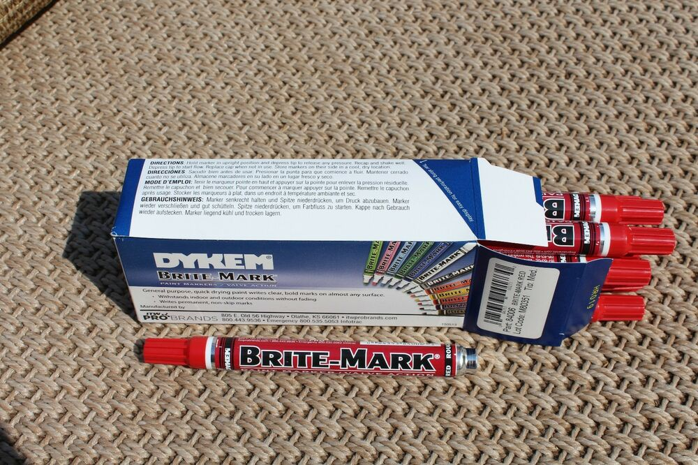 Dykem brite mark paint markers 12 pack red ebay for Dykem paint markers