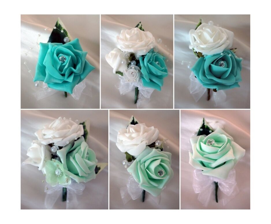Wedding buttonholes and corsages tiffany blue mint green ebay junglespirit Images