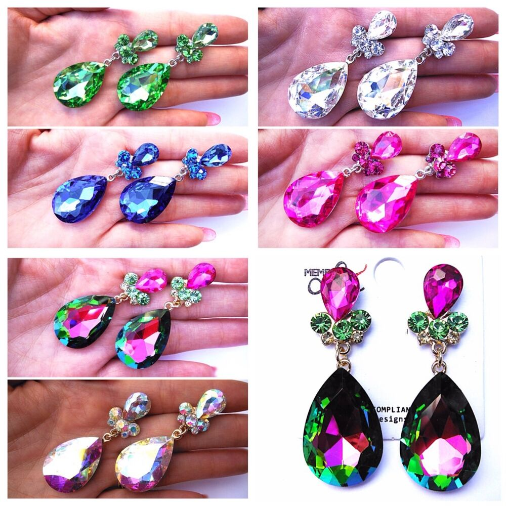 Latin Dance Earrings: Long AB Vitrail Colors Crystal Earrings Ballroom Dance