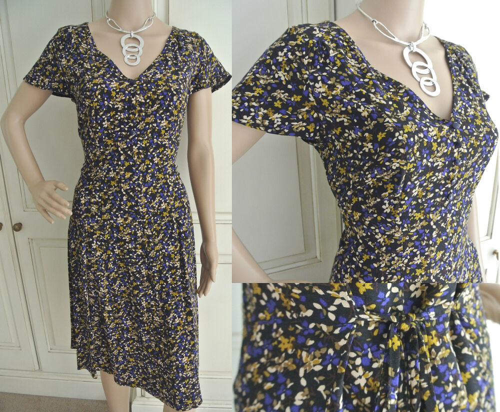 Beige Dress Picture Collection: NEW EX M&S COLLECTION BLACK BEIGE DITSY FLORAL SUMMER FIT