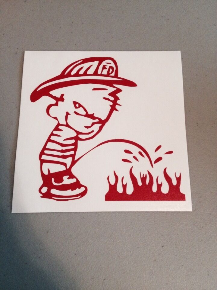 Fireman Piss On Fire Vinyl Die Cut Decal Funny Window