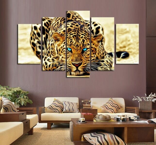 Home decor leopards tiger animal wild wall painting art on for Cuadros modernos decorativos para sala