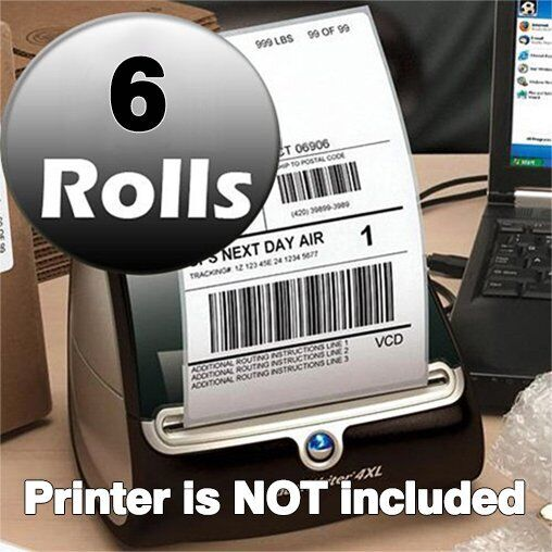 6 rolls 220 roll thermal shipping labels 4x6 compatible for Dymo 4x6 label printer