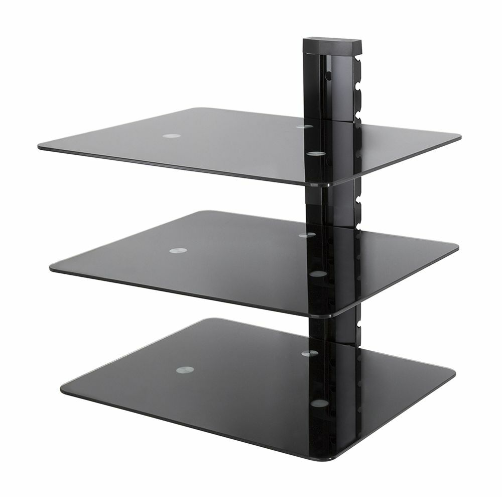 floating tv shelf mounted wall shelves glass lcd led tv x. Black Bedroom Furniture Sets. Home Design Ideas
