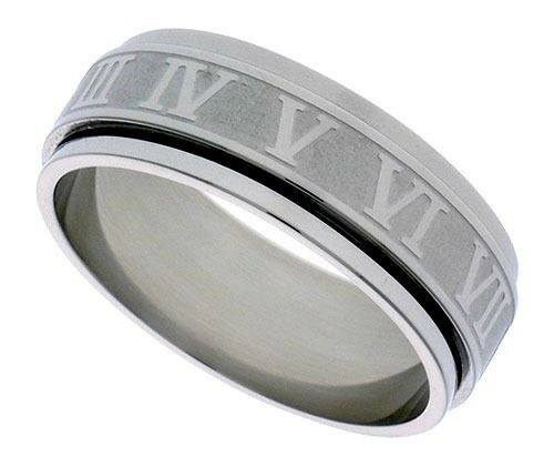 Roman Numeral Wedding Bands: Surgical Steel 6mm Roman Numerals Spinner Ring Wedding
