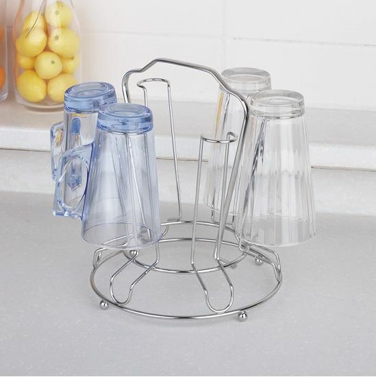 Mug Shelf Kitchen: Circle Stainless Steel Cup Holder Stand Rack For Glass Cup