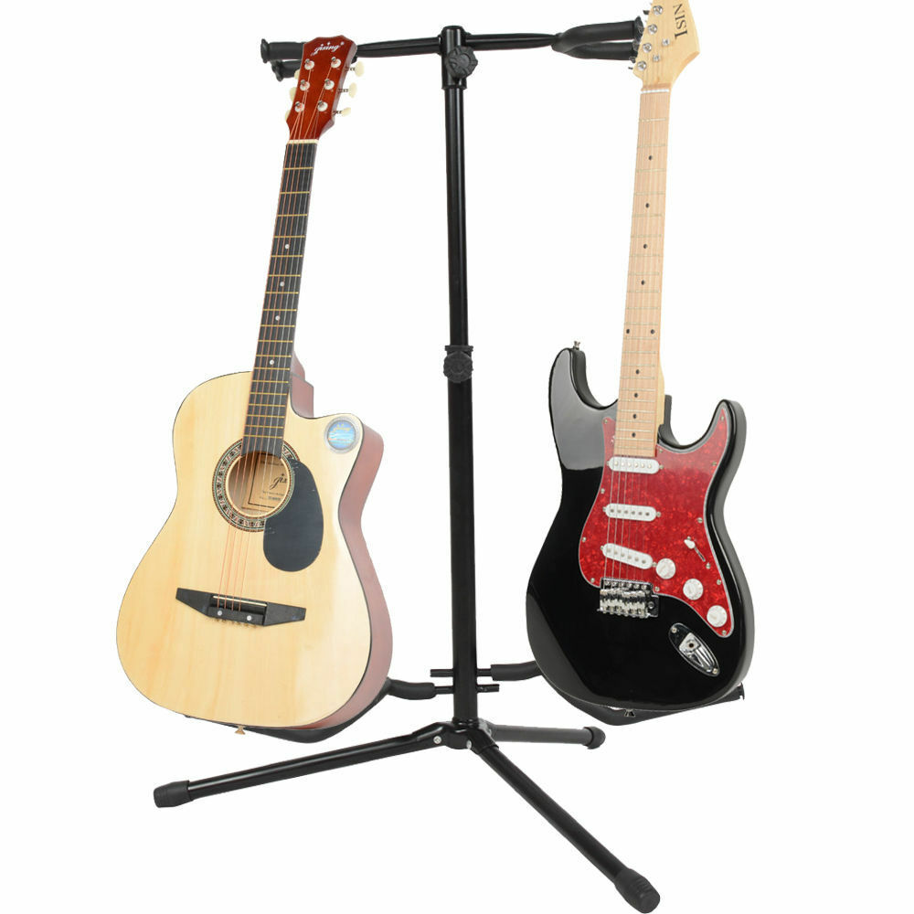 new professional musician 39 s dual double acoustic electric guitar bass stand ebay. Black Bedroom Furniture Sets. Home Design Ideas