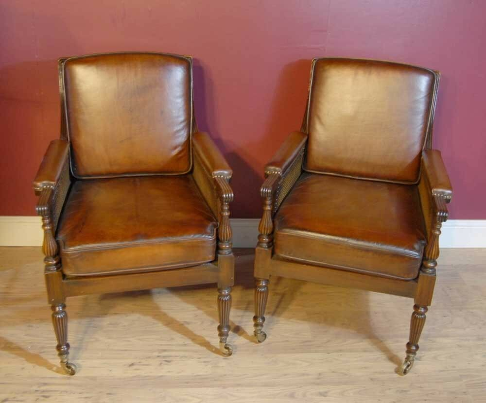 Pair French Regency Bergere Chairs Leather Arm Chair ...