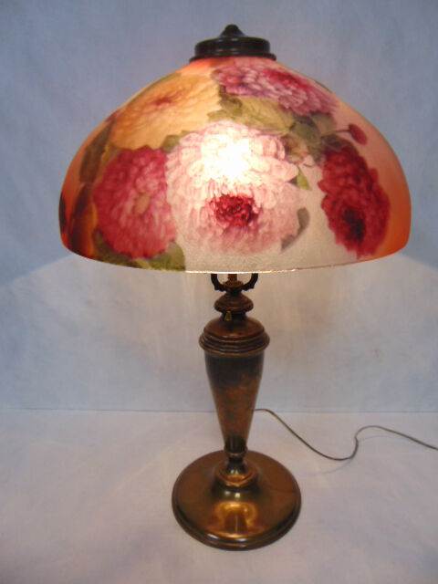 Antique Pittsburgh Reverse Painted Floral Glass Lamp Ebay