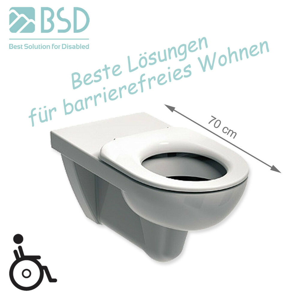 h nge wc toilette 70cm behindertengerecht rollstuhlgerecht barrierefrei wc sitz ebay. Black Bedroom Furniture Sets. Home Design Ideas