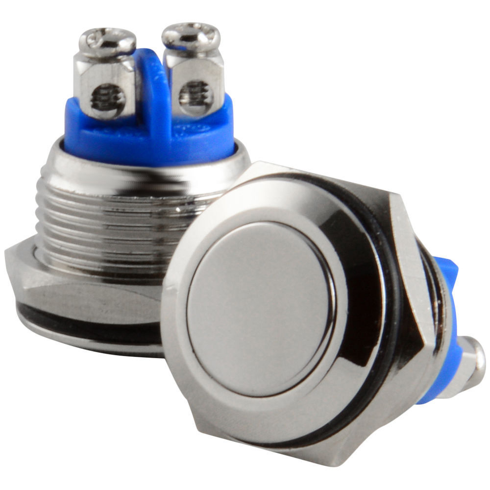 Dash Mount HORN Switch Push Button 2 wire BOAT Stainless