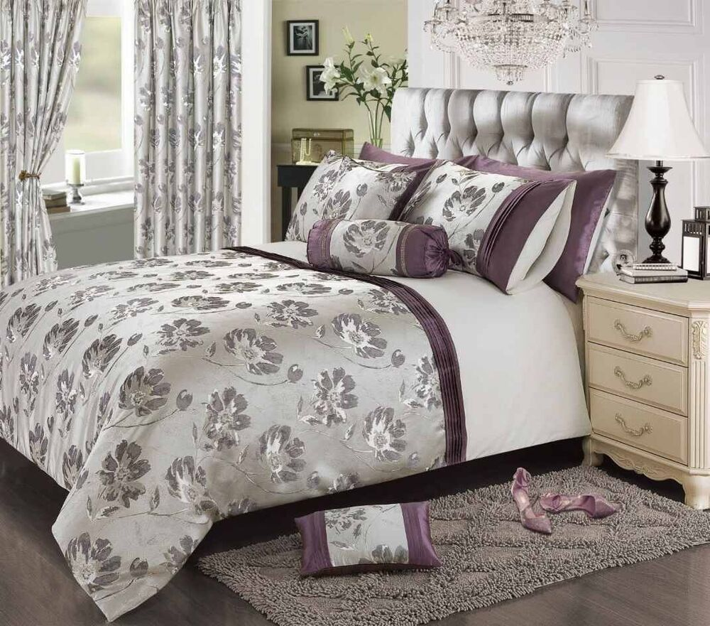 Plum Mauve Stylish Floral Jacquard Duvet Cover Luxury