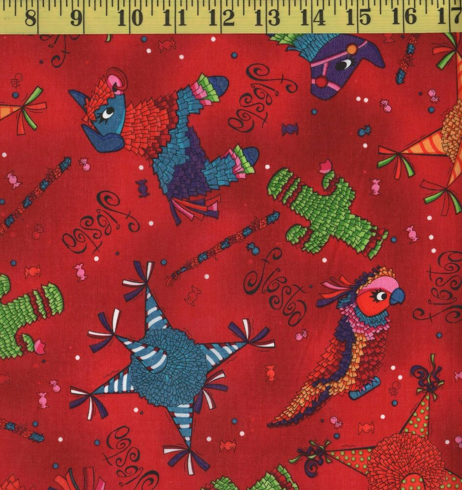 MEXICAN PINATA FIESTA PARTY Red Colorful Fabric 100