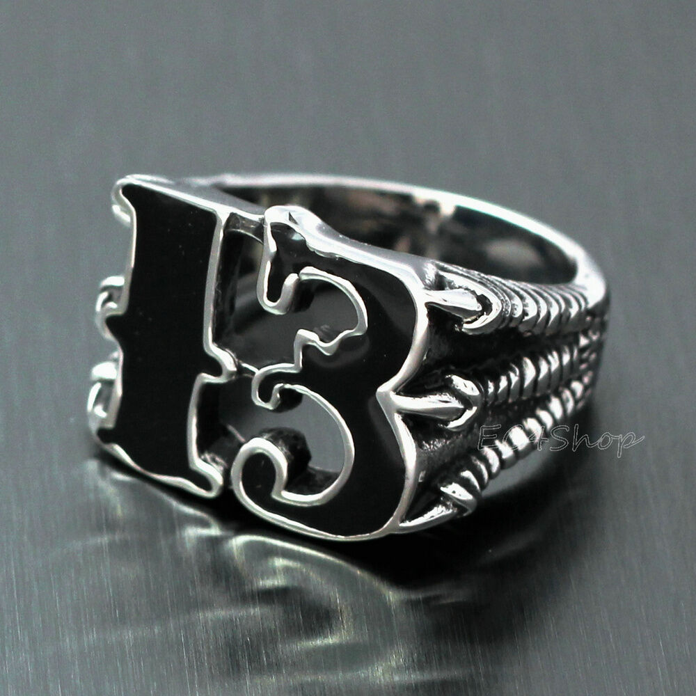 Men lucky no 13 dragon claw biker ring enamel stainless for Biker jewelry stainless steel