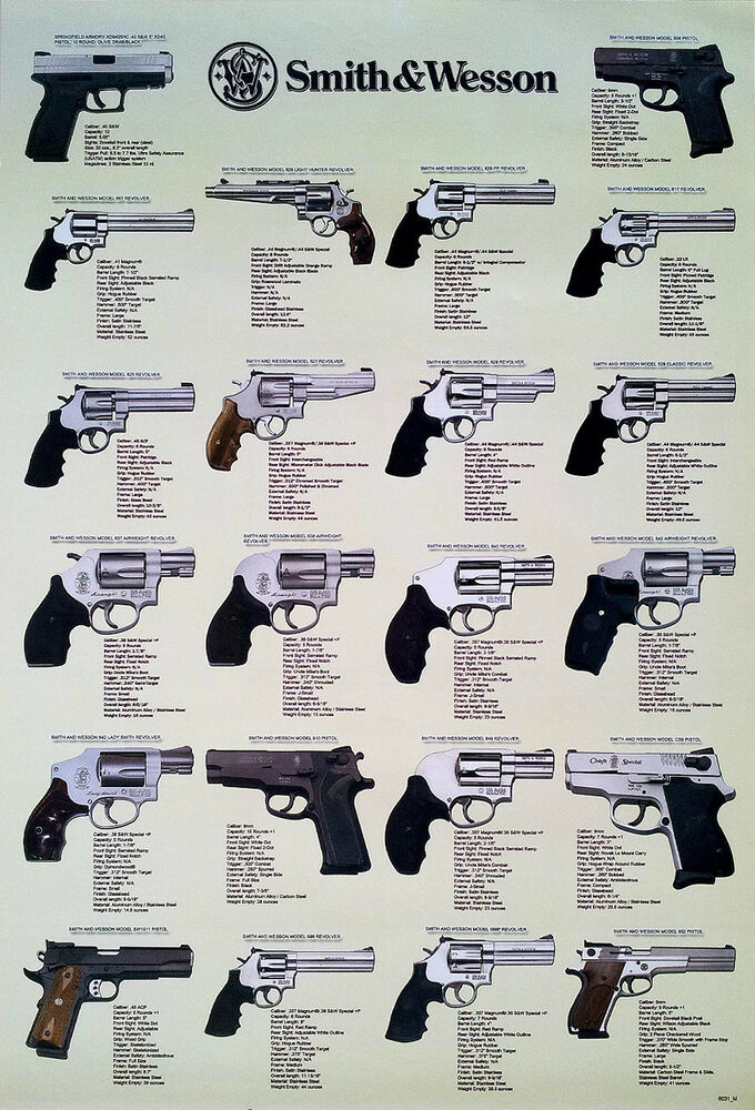 smith amp wesson revolvers poster 23x34 pistols guns usa