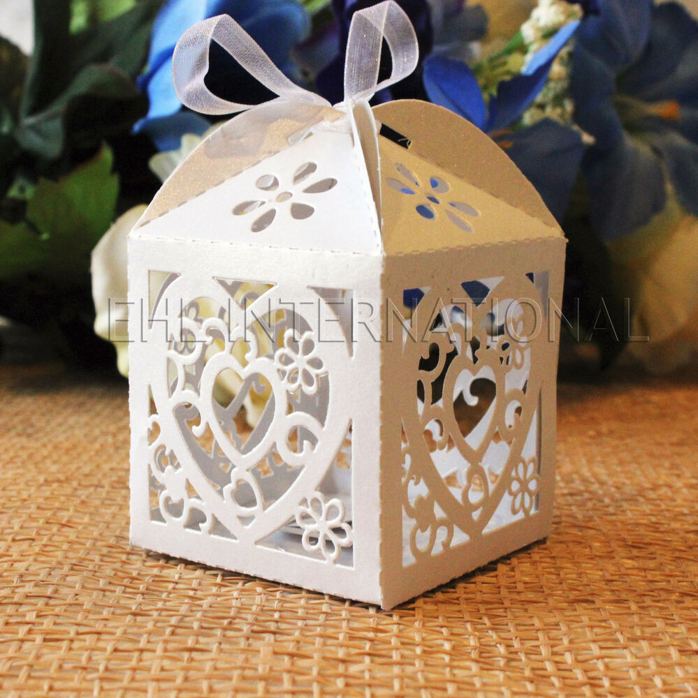 Wedding Gift Boxes: 48pcs White Heart Laser Cut Wedding Party Favor Candy Gift