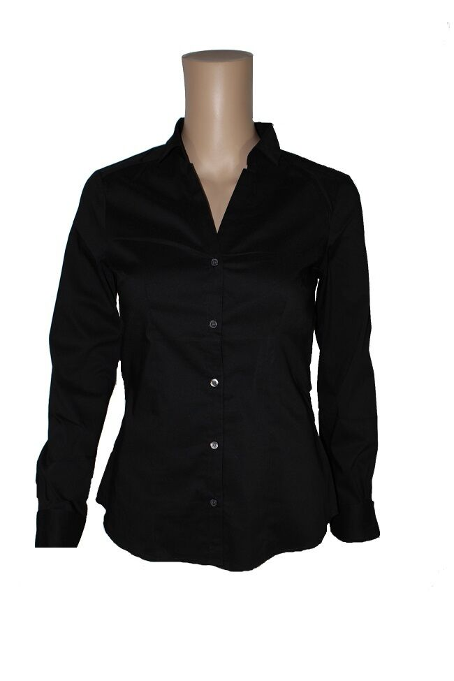 5e288c4cc901 Details about Ladies H M Long Sleeve Black Work Office Shirt Blouse Cotton  Fitted