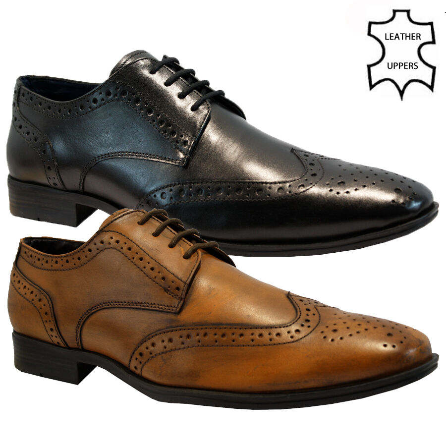 new mens real leather italian casual formal brogue oxford