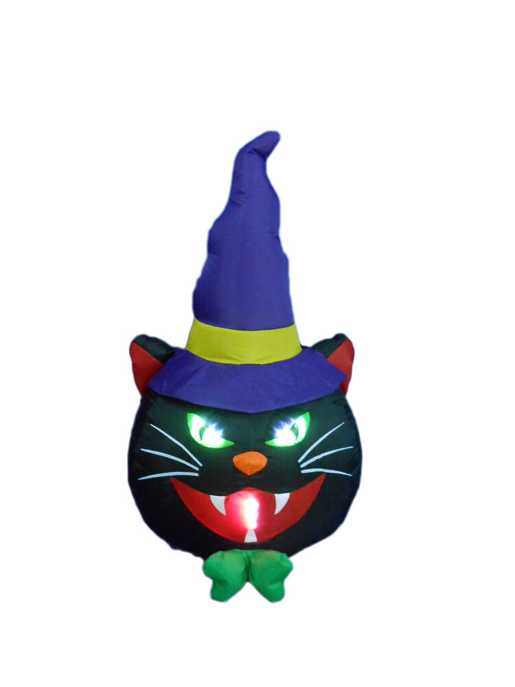 Halloween inflatable lighted black cat indoor outdoor yard for Christmas cat yard decorations