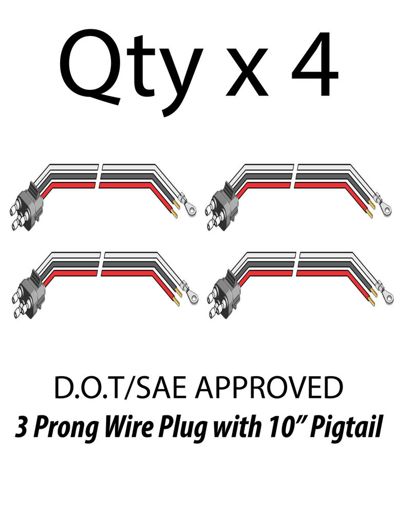 3 prong pigtail wire plug for truck trailer stop turn tail lights