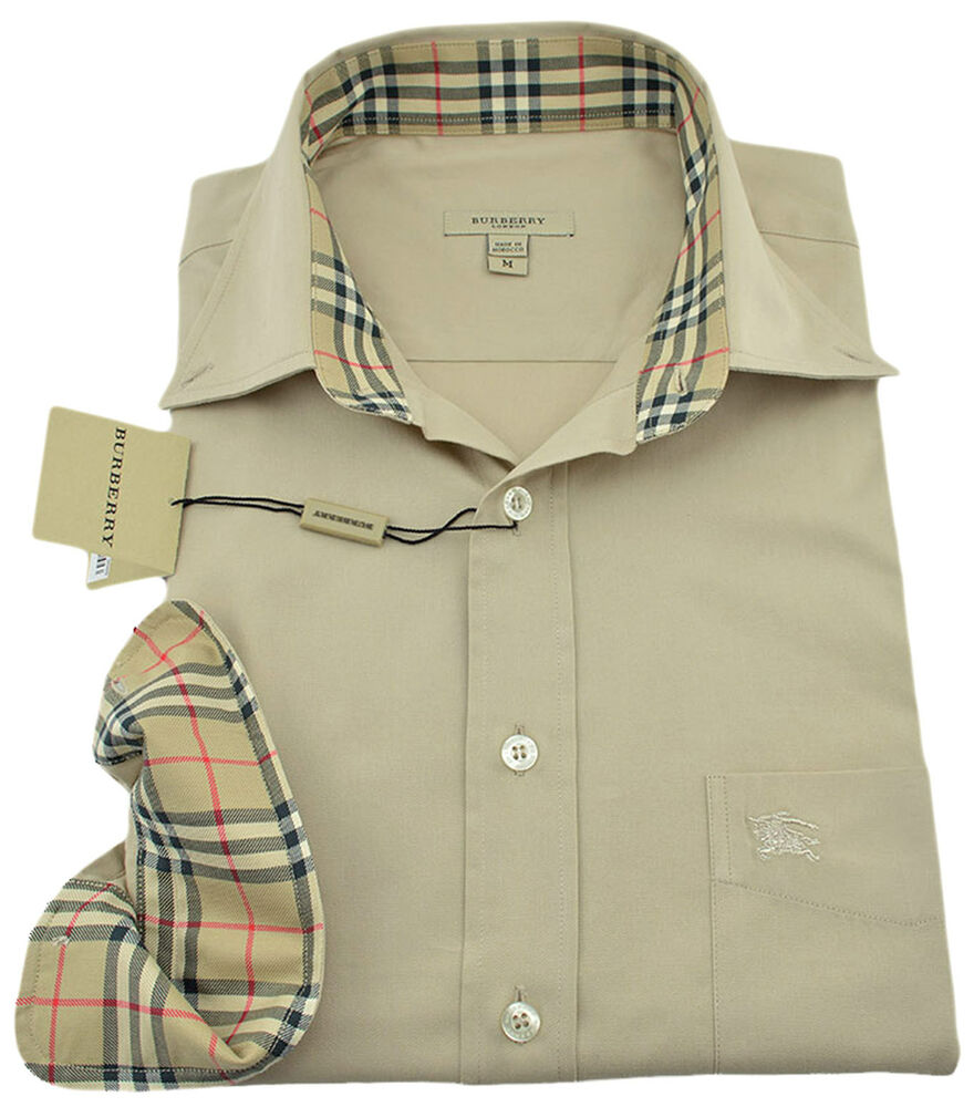 275 burberry london beige casual dress mens shirt new for Mens big and tall burberry shirts
