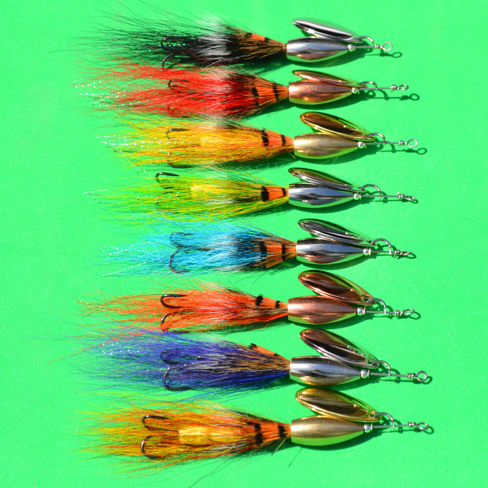 Bucktail allie 39 s shrimp bullet lure spinner salmon game for Spinner fishing lures