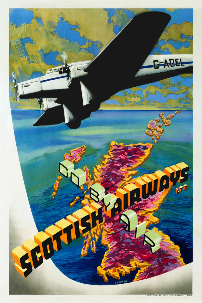 Vintage Art Deco Aviation Poster Spartan Cruiser Scottish ...
