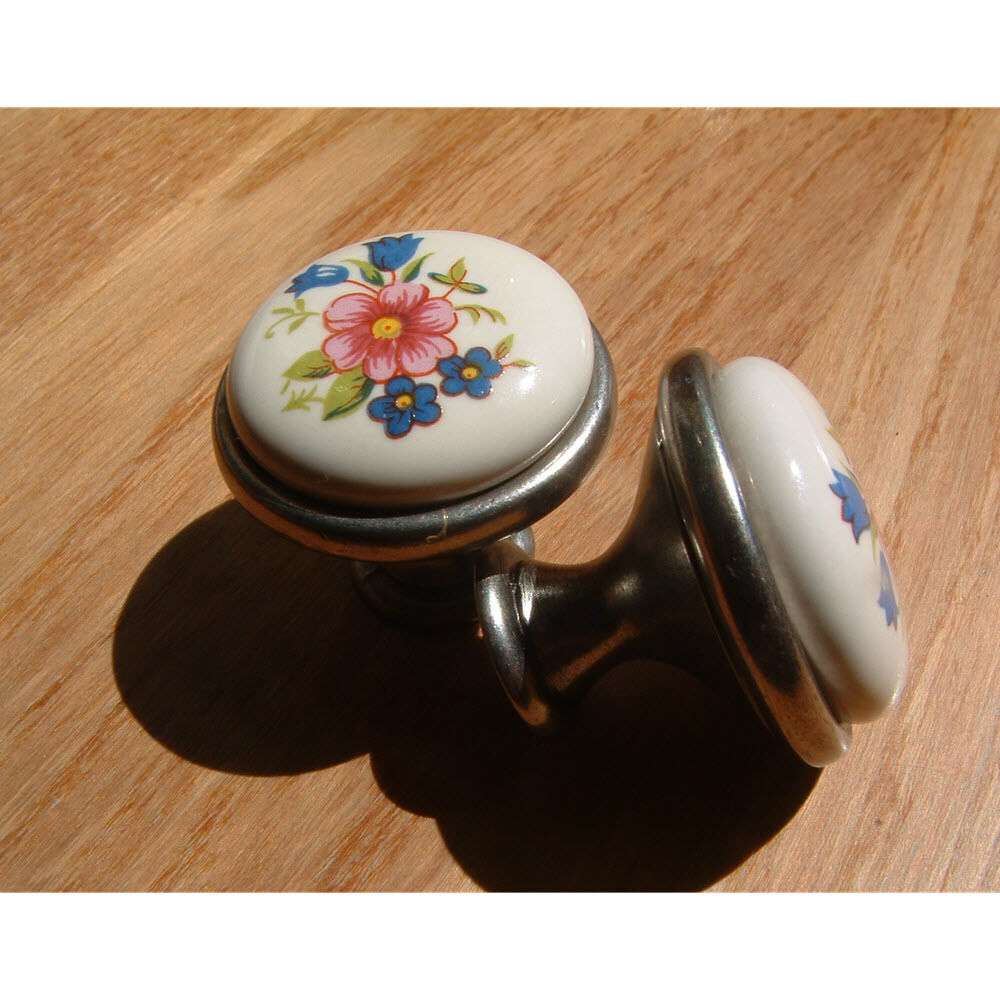 Ceramic Kitchen Cabinet Handles Drawer Pull Knobs Antique: Flower Porcelain And Silver Antique Bathroom Kitchen