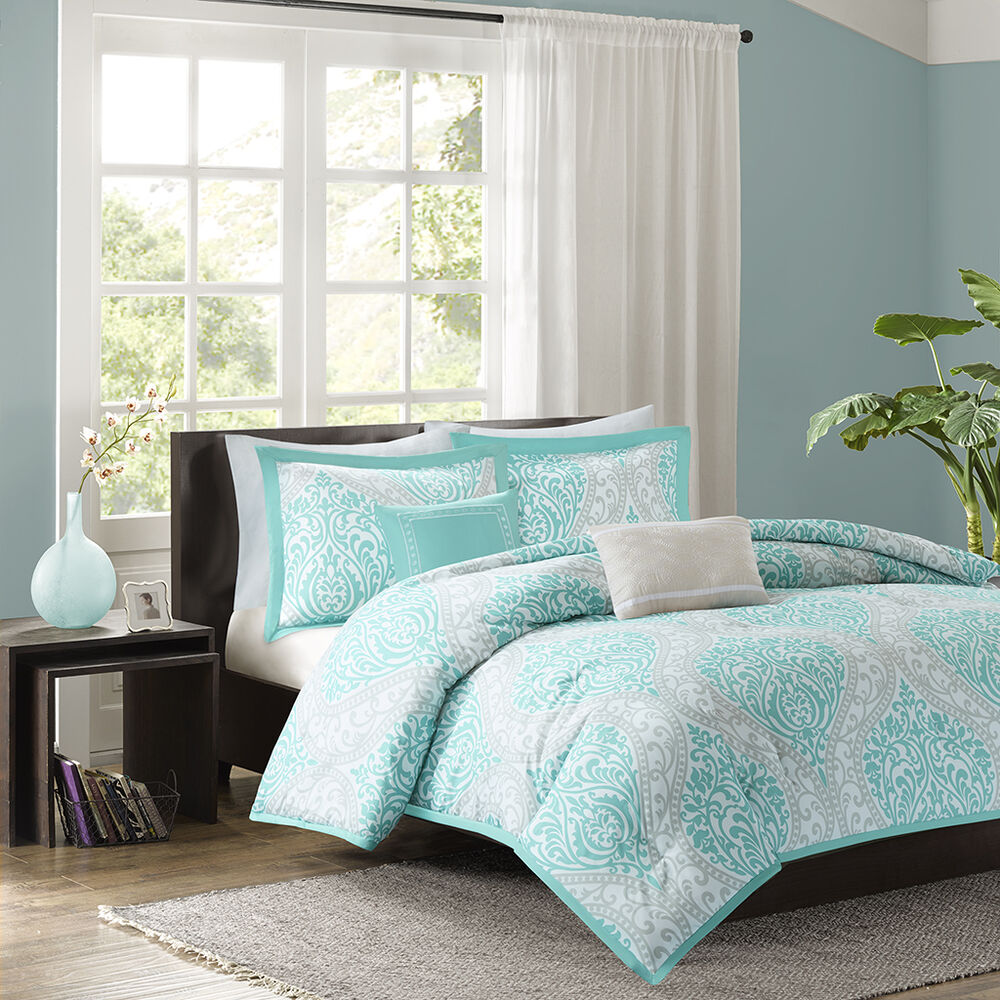 Beautiful Chic Aqua Teal Light Blue Grey Comforter Set