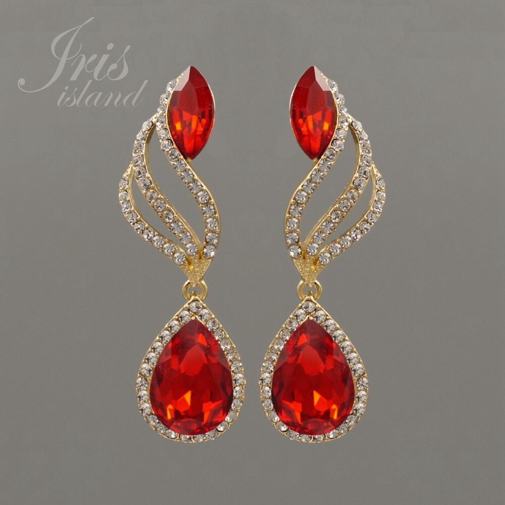 Red Givenchy Chandelier Earrings: 18K Gold Plated GP Red Crystal Rhinestone Chandelier Drop