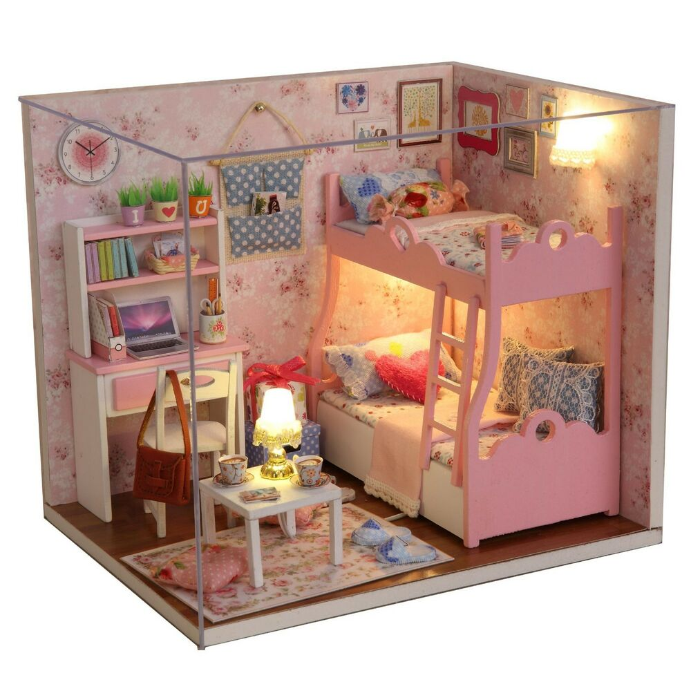 Kits Diy Wood Dollhouse Miniature Furniture Dolls House