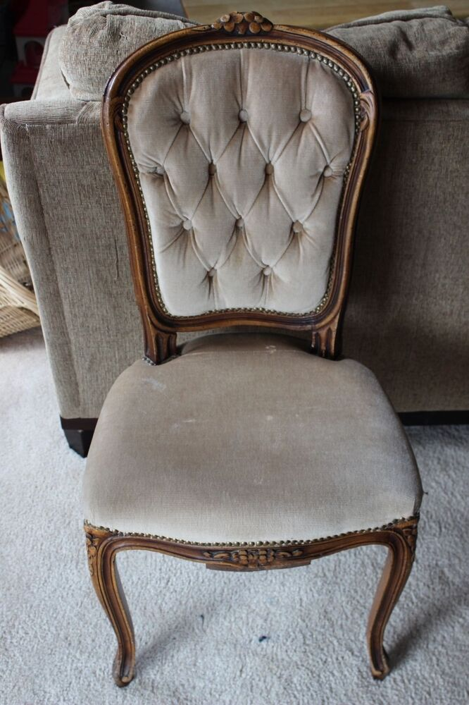 Antique Wooden Carved Chair ~ Antique victorian style hand carved wood parlor chair ebay