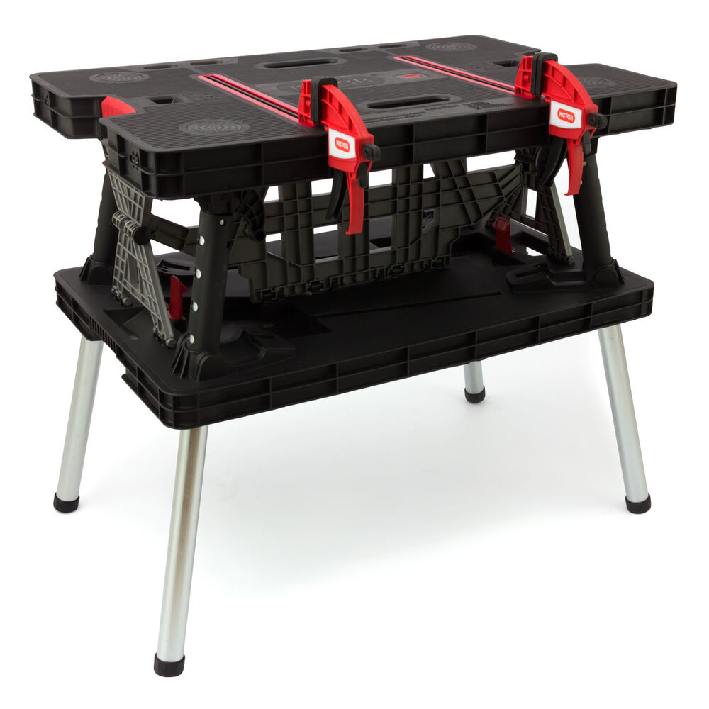 Keter Workbench Portable Folding Adjustable Working Table Bench With Clamps Ebay