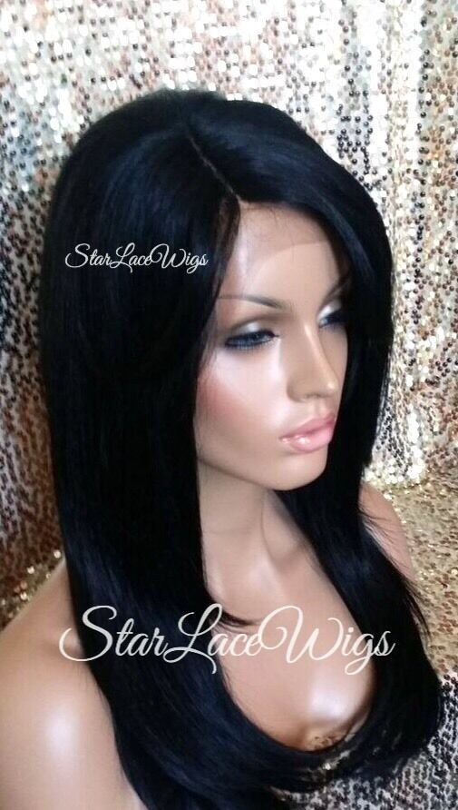 100 Human Hair Blend Straight Lace Front Wig Layer Bangs