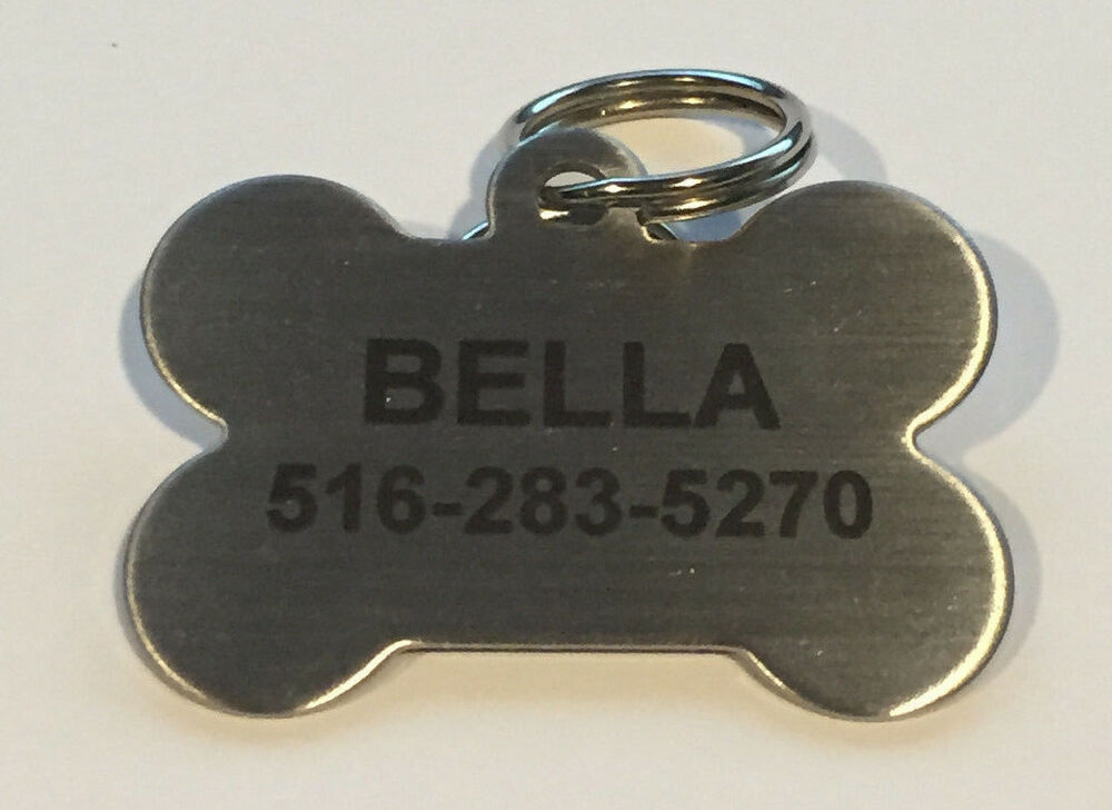 custom personalized stainless steel bone dog tag cat tag pet id tag name tag ebay. Black Bedroom Furniture Sets. Home Design Ideas