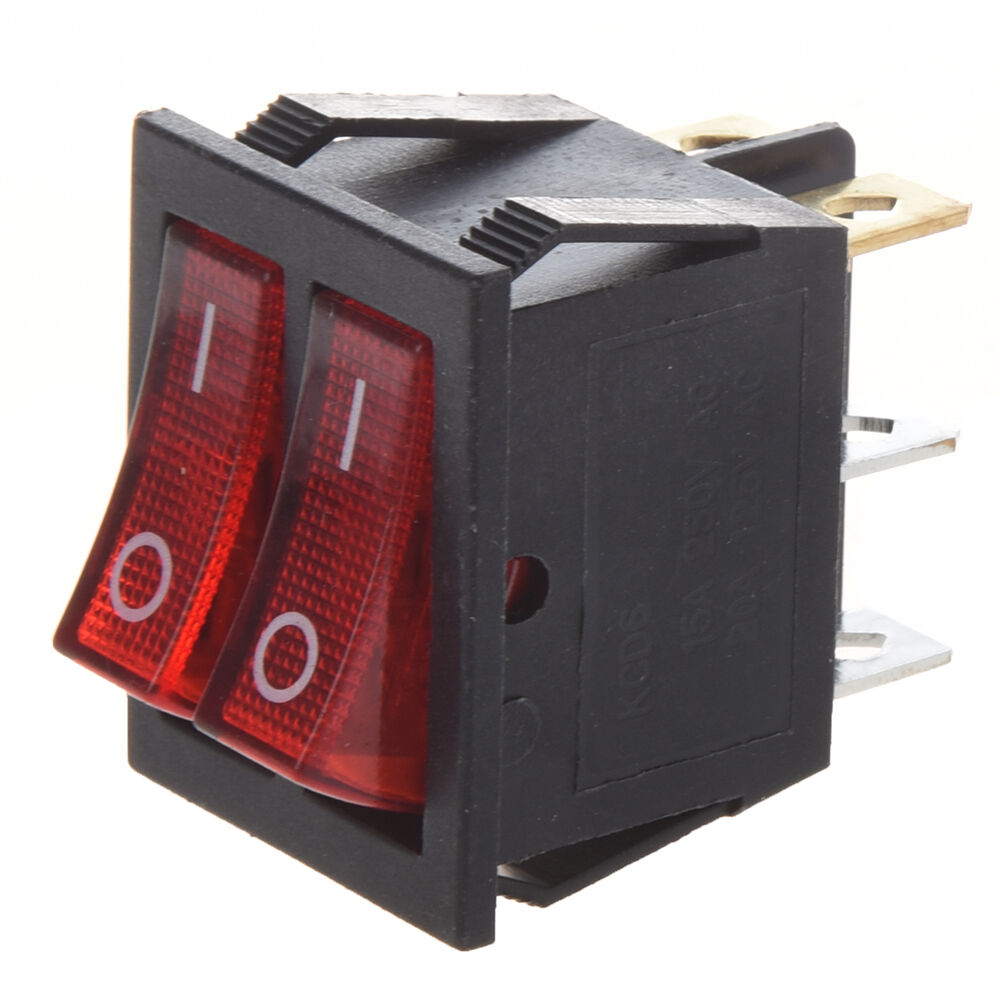 red illuminated 6pin dual spst on off boat rocker switch. Black Bedroom Furniture Sets. Home Design Ideas
