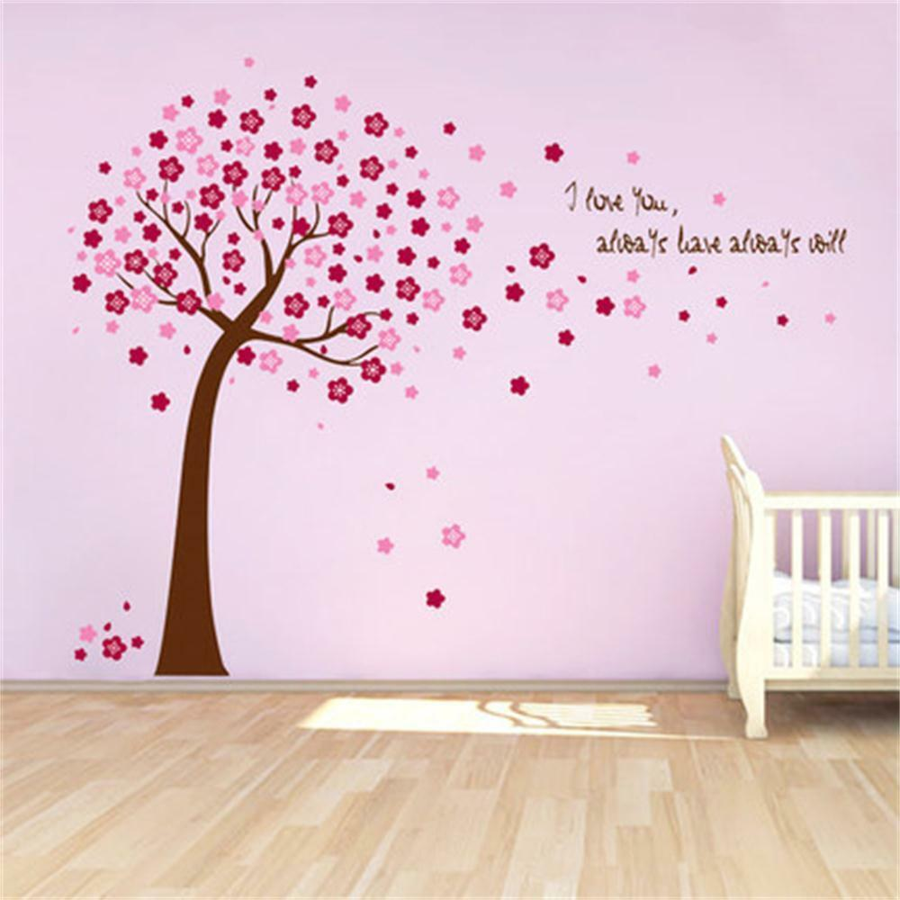 Pink Cherry Blossom Vine Tree Wall Stickers Kids Baby