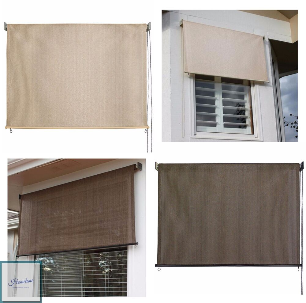 Outdoor window shade exterior solar roll up patio curtain for Exterior window shade