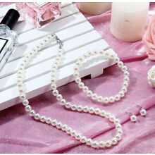 Ivory/white Simple Single Strand Faux Pearl Necklace Set bridesmaid (USA seller)