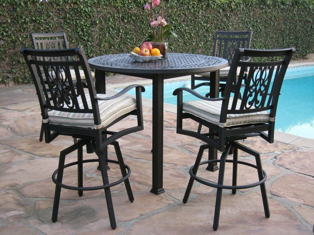 Heaven Collection Outdoor Cast Aluminum 5 Piece Bar Set With 4 Swivel Bar Sto